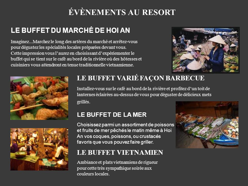 ÉVÈNEMENTS AU RESORT LE BUFFET DU MARCHÉ DE HOI AN