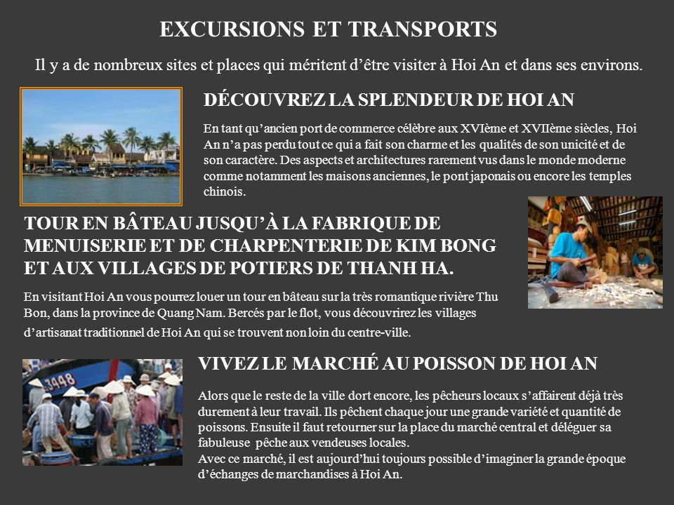 EXCURSIONS ET TRANSPORTS