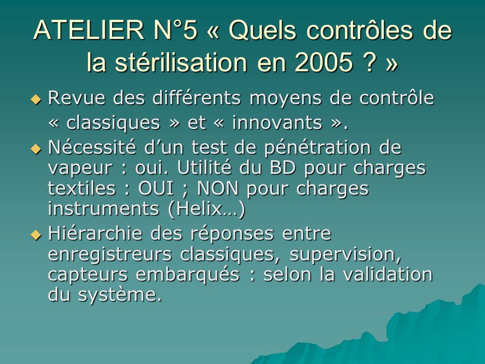 ATELIER N°5 « Quels contrôles de la stérilisation en 2005 »