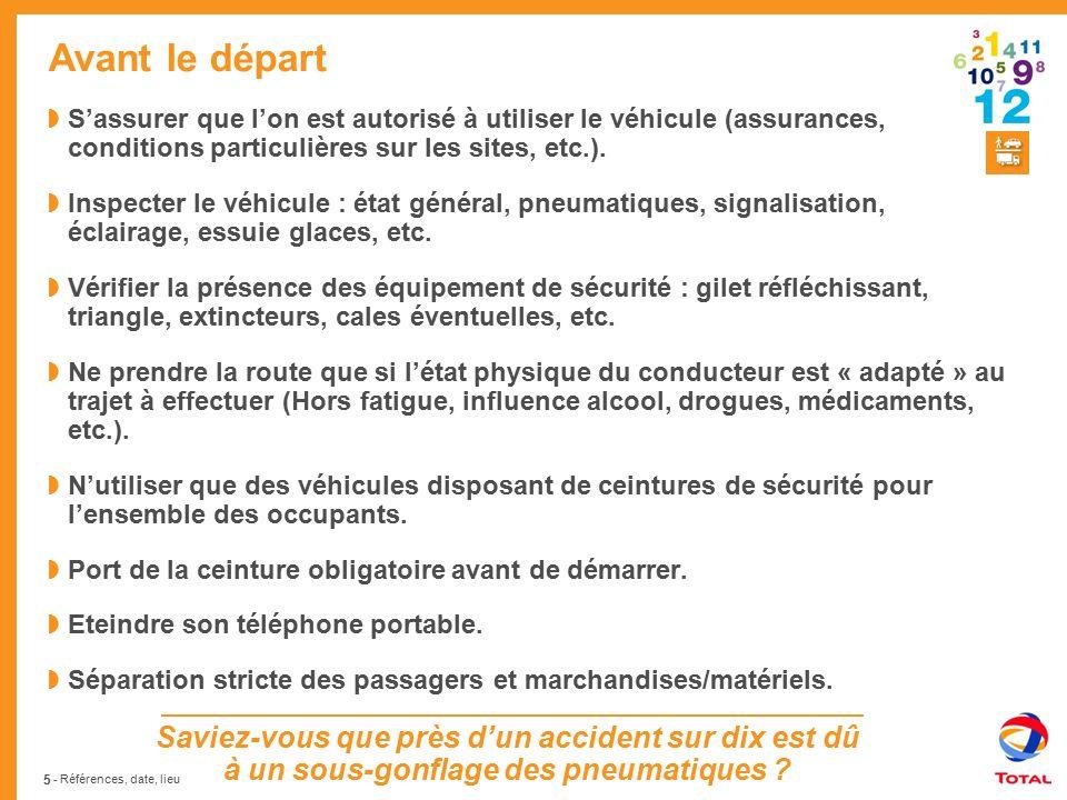 Avant le départ S'assurer que l'on est autorisé à utiliser le véhicule (assurances, conditions particulières sur les sites, etc.).