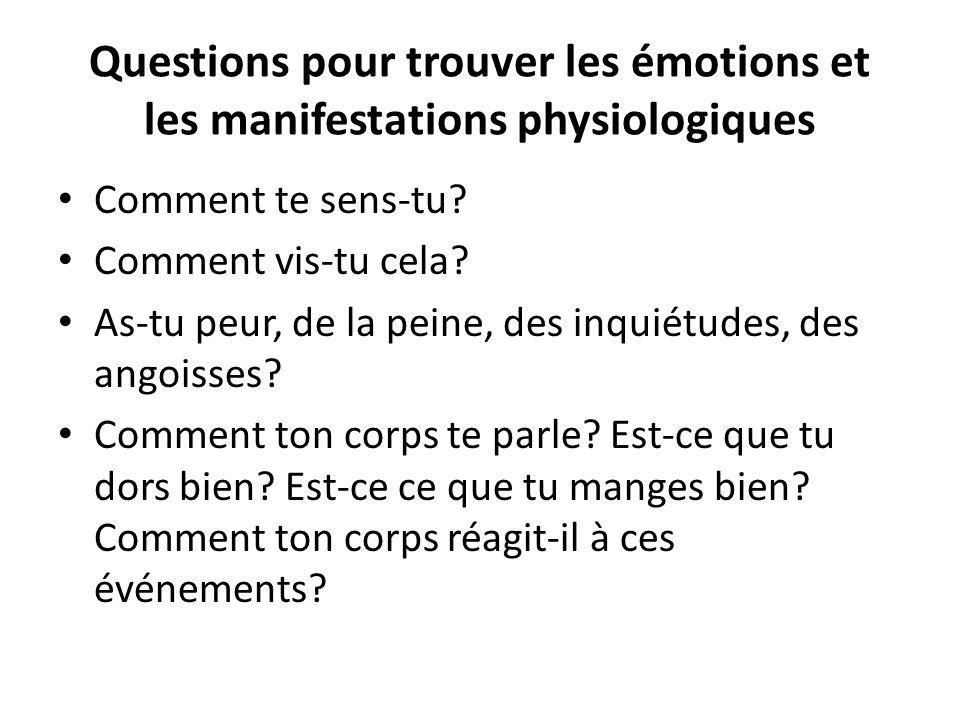 Questions pour trouver les émotions et les manifestations physiologiques