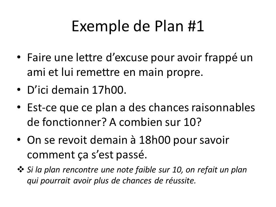 Exemple de Plan #1Faire une lettre d'excuse pour avoir frappé un ami et lui remettre en main propre.