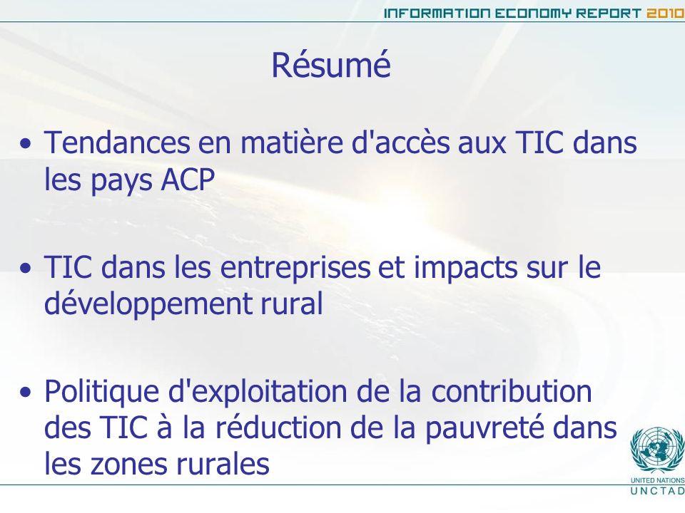 Résumé Tendances en matière d accès aux TIC dans les pays ACP