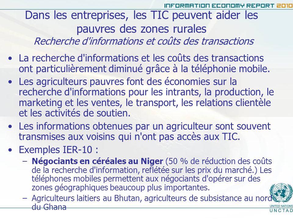 Dans les entreprises, les TIC peuvent aider les pauvres des zones rurales Recherche d informations et coûts des transactions