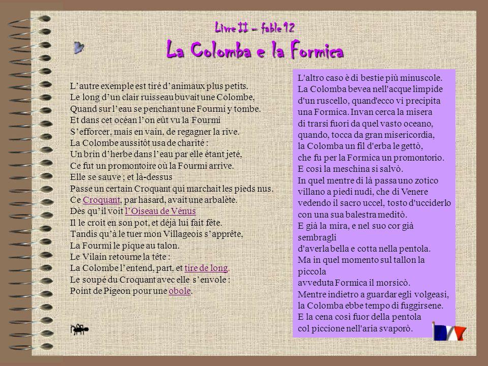 Livre II – fable 12 La Colomba e la Formica