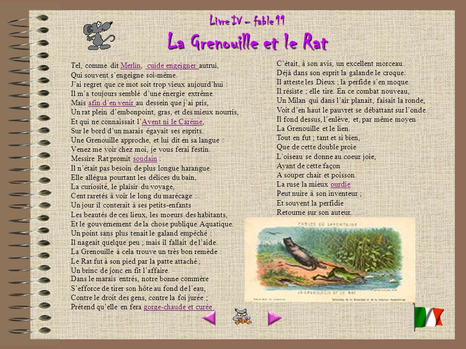 Livre IV – fable 11 La Grenouille et le Rat