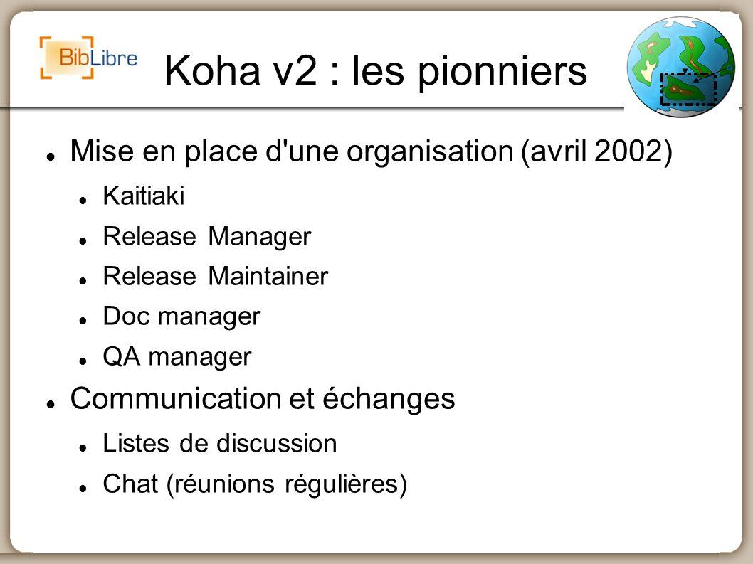 Koha v2 : les pionniers Mise en place d une organisation (avril 2002)