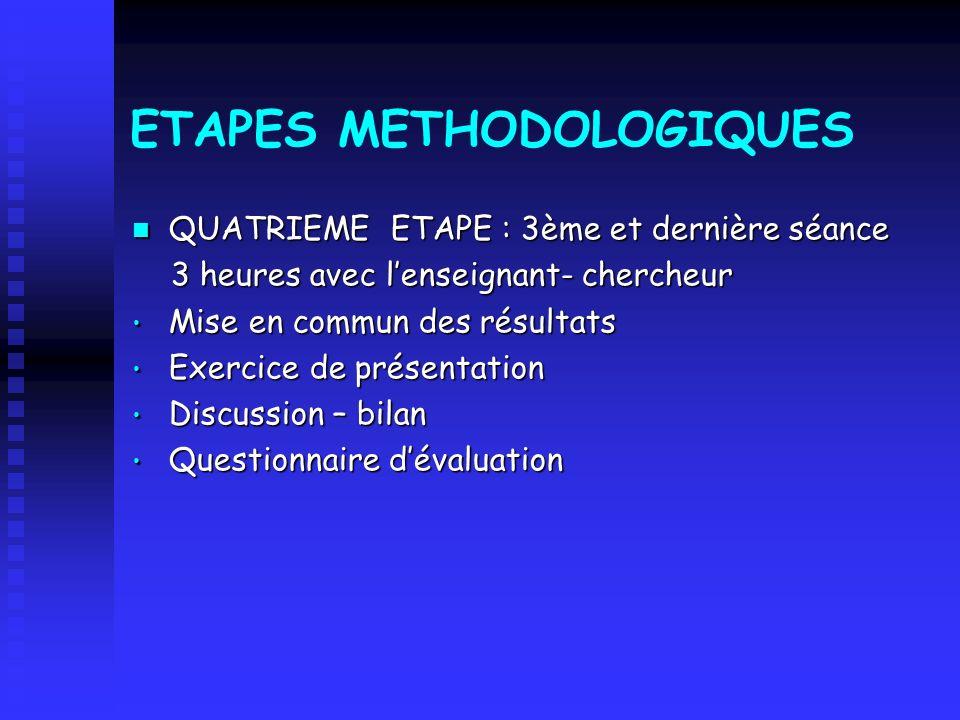 ETAPES METHODOLOGIQUES