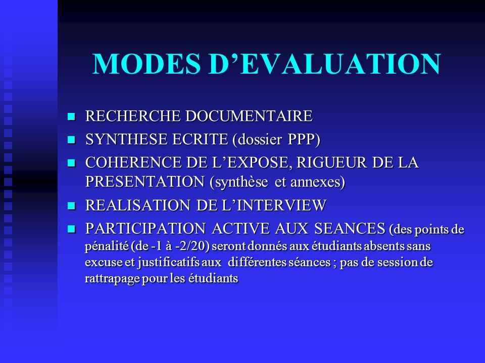 MODES D'EVALUATION RECHERCHE DOCUMENTAIRE