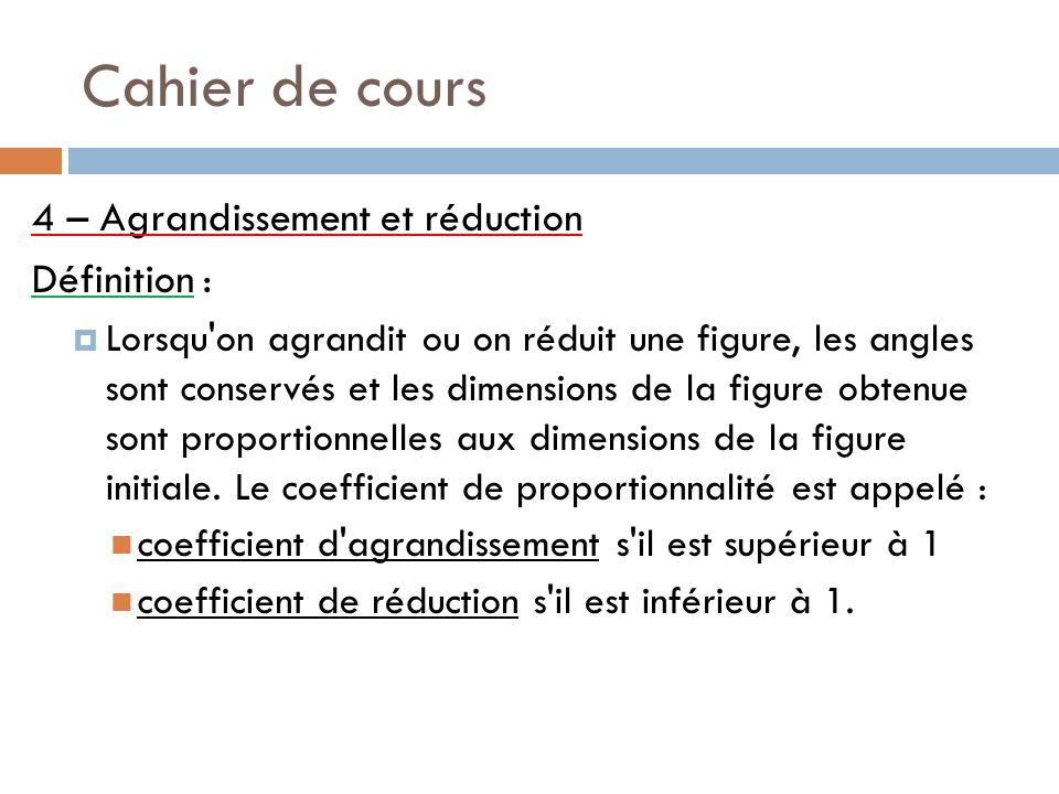 Cahier de cours 4 – Agrandissement et réduction Définition :