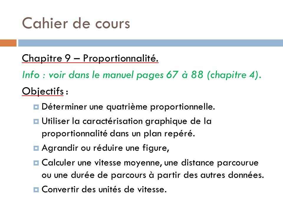 Cahier de cours Chapitre 9 – Proportionnalité.