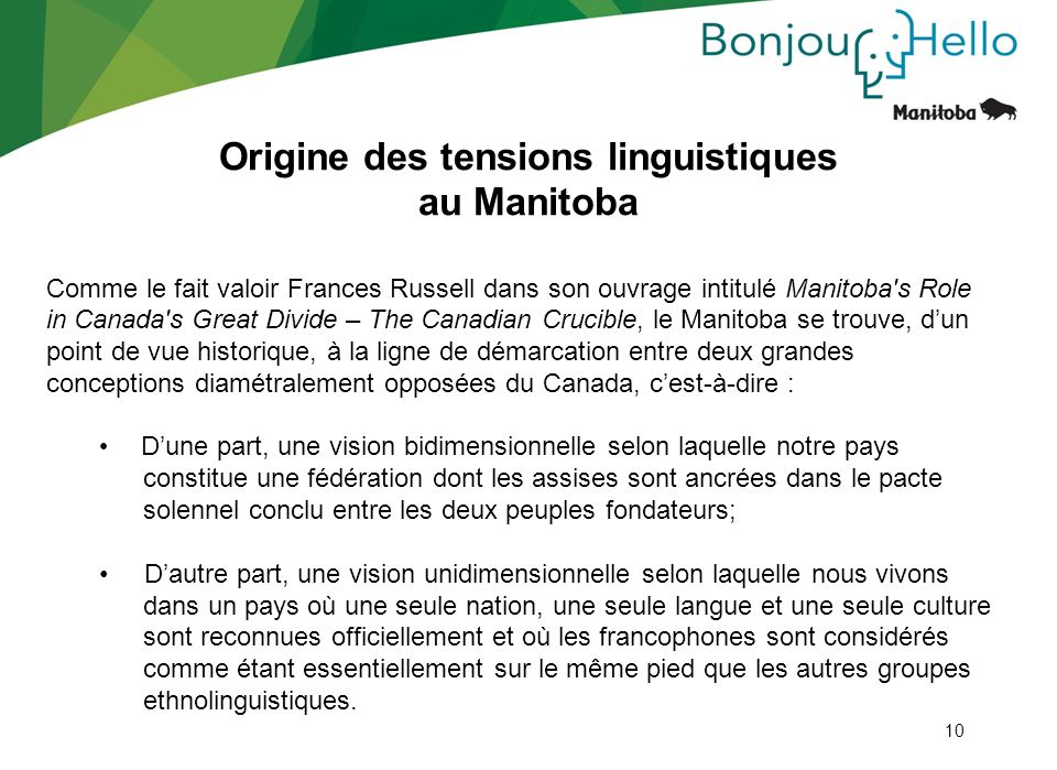 Origine des tensions linguistiques au Manitoba
