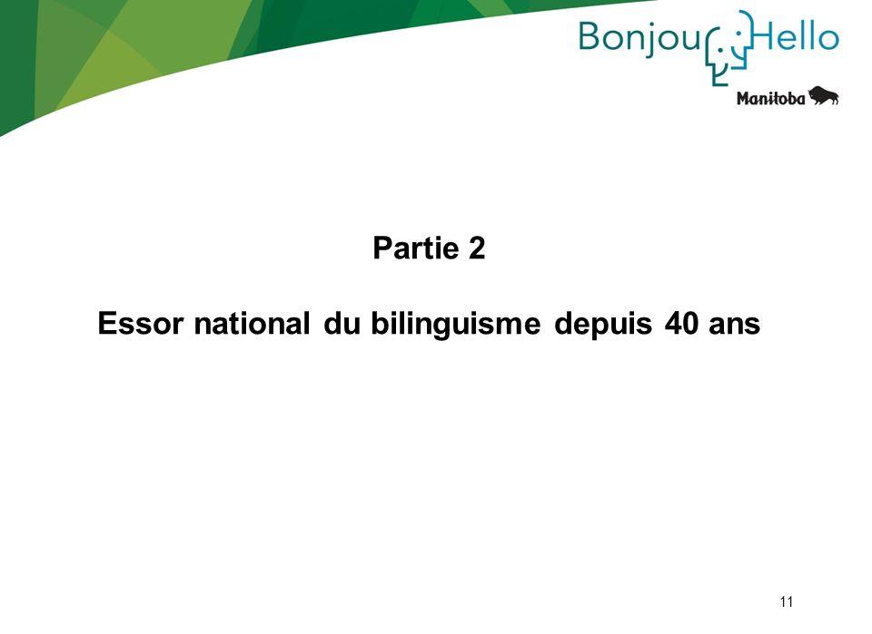 Partie 2 Essor national du bilinguisme depuis 40 ans