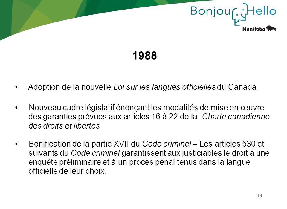 1988 Adoption de la nouvelle Loi sur les langues officielles du Canada