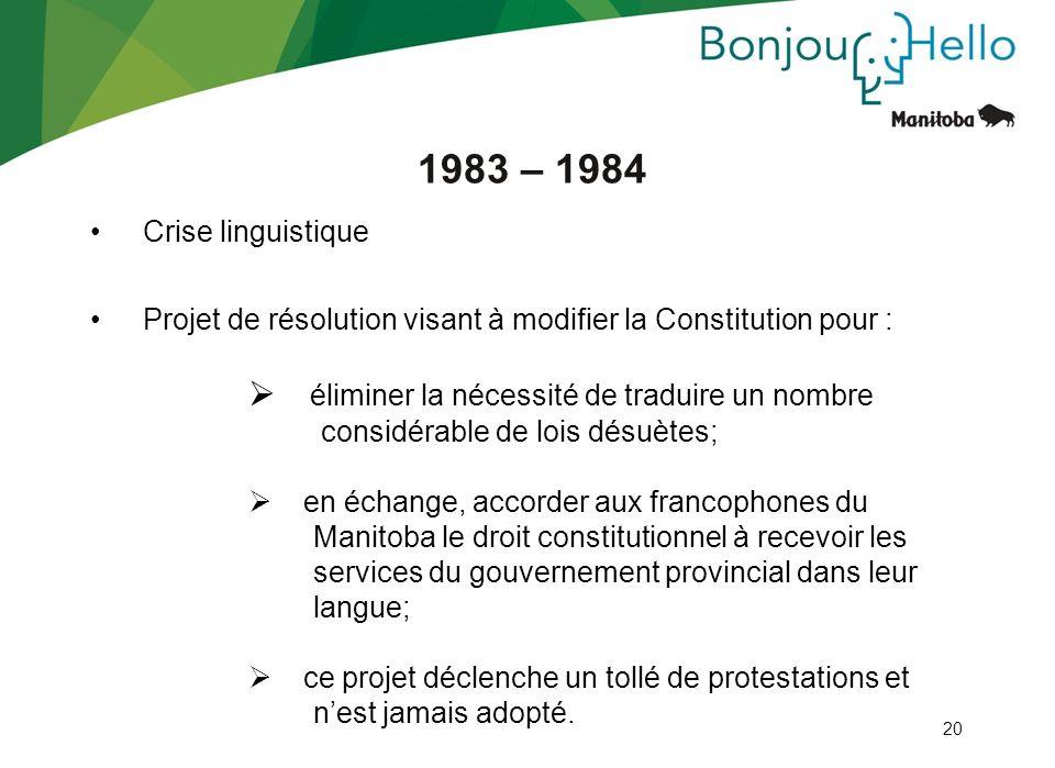 1983 – 1984 éliminer la nécessité de traduire un nombre