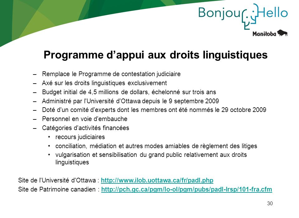 Programme d'appui aux droits linguistiques
