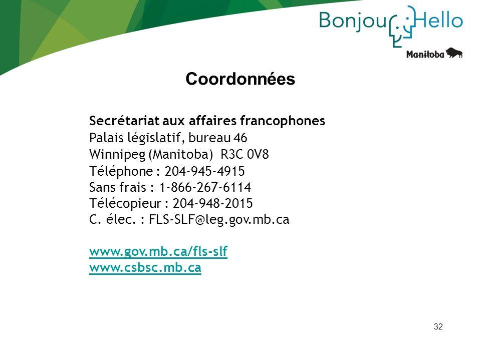 Coordonnées Secrétariat aux affaires francophones