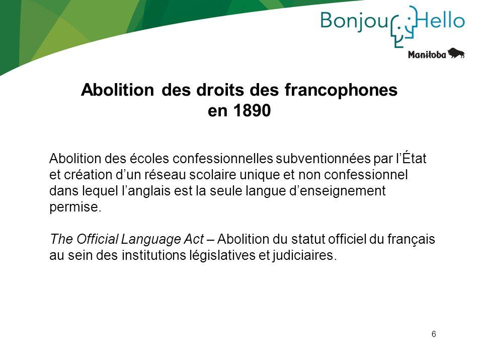 Abolition des droits des francophones en 1890