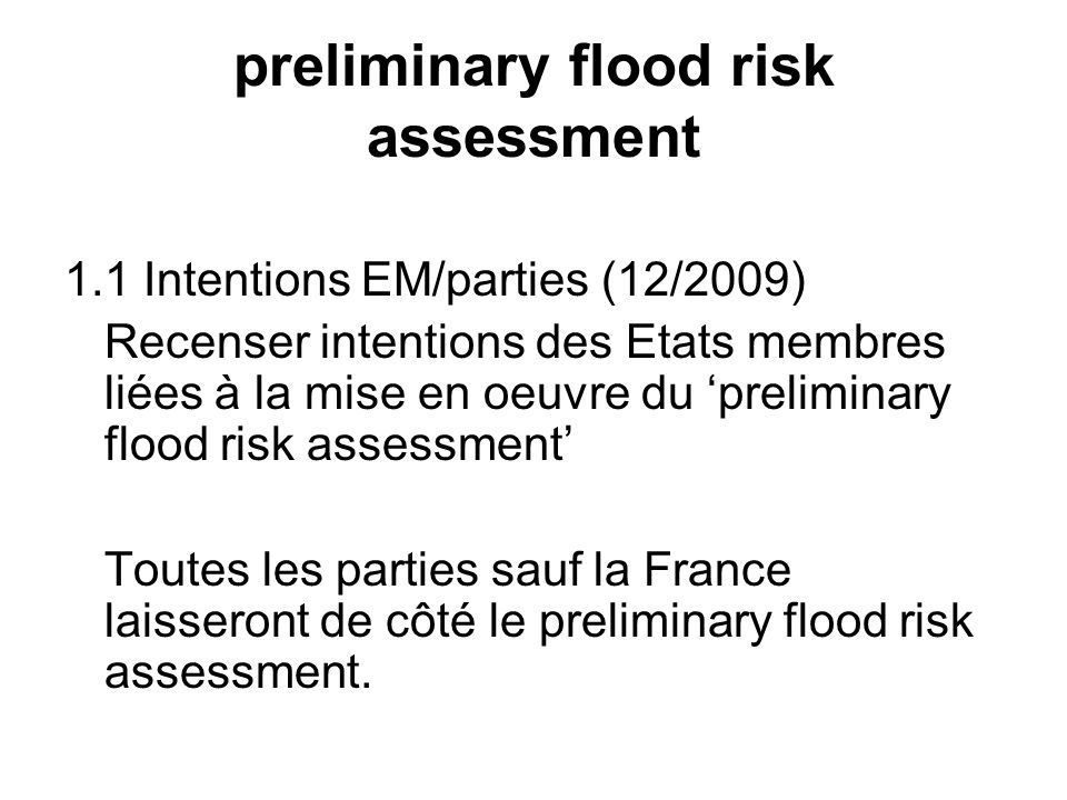preliminary flood risk assessment