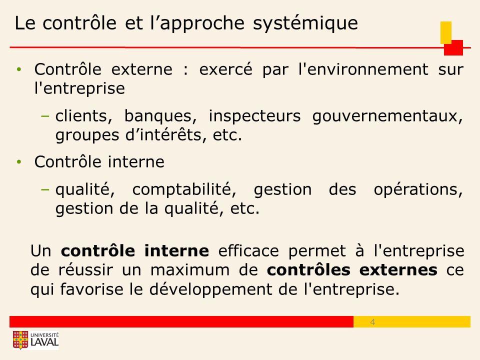 Le contrôle et l'approche systémique