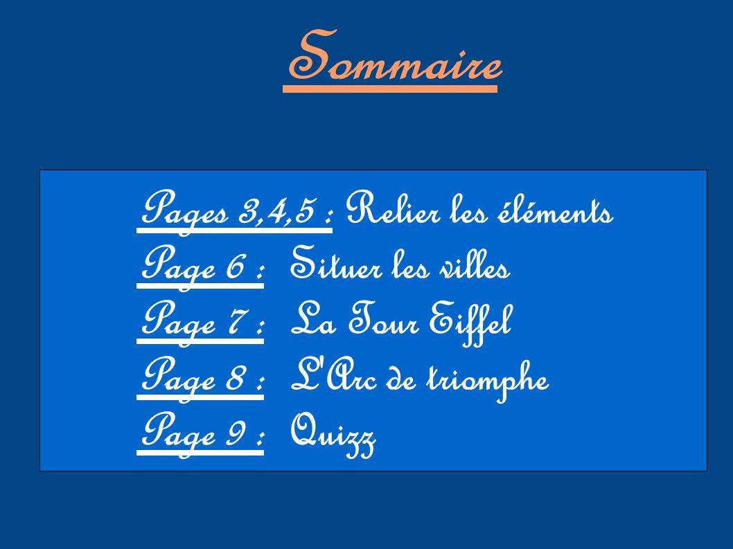 Sommaire Pages 3,4,5 : Relier les éléments Page 6 : Situer les villes