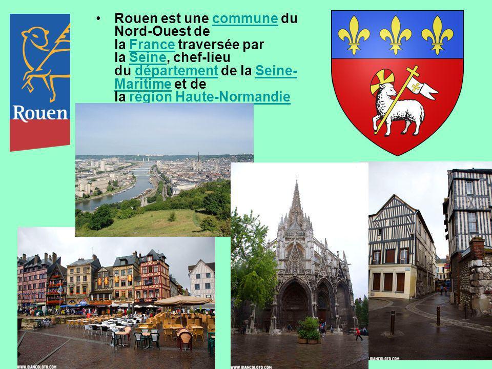 Rouen est une commune du Nord-Ouest de la France traversée par la Seine, chef-lieu du département de la Seine-Maritime et de la région Haute-Normandie