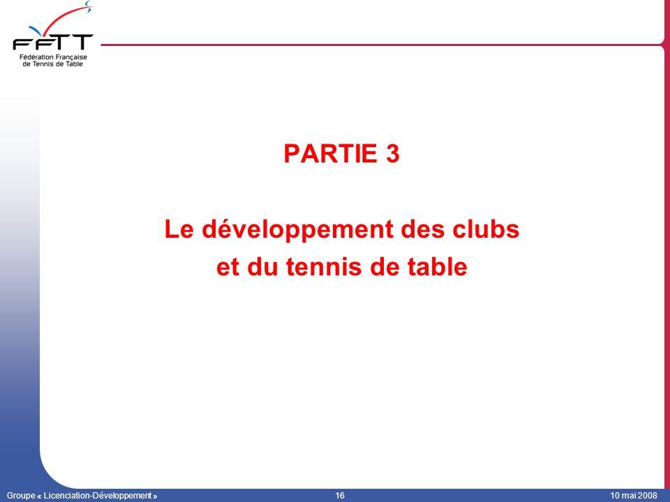Le développement des clubs