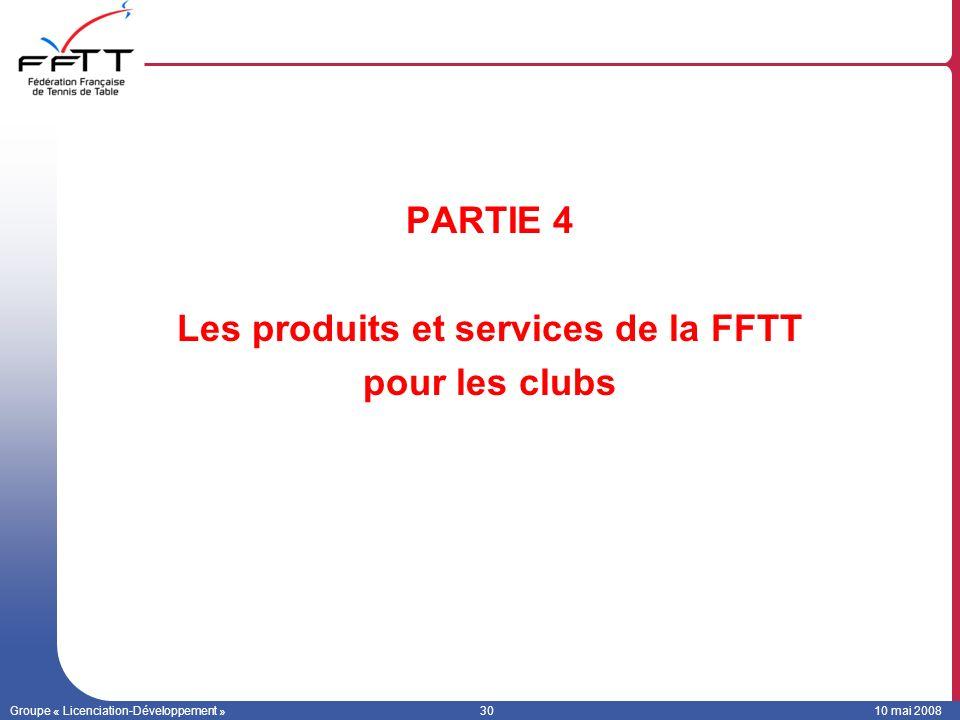 Les produits et services de la FFTT