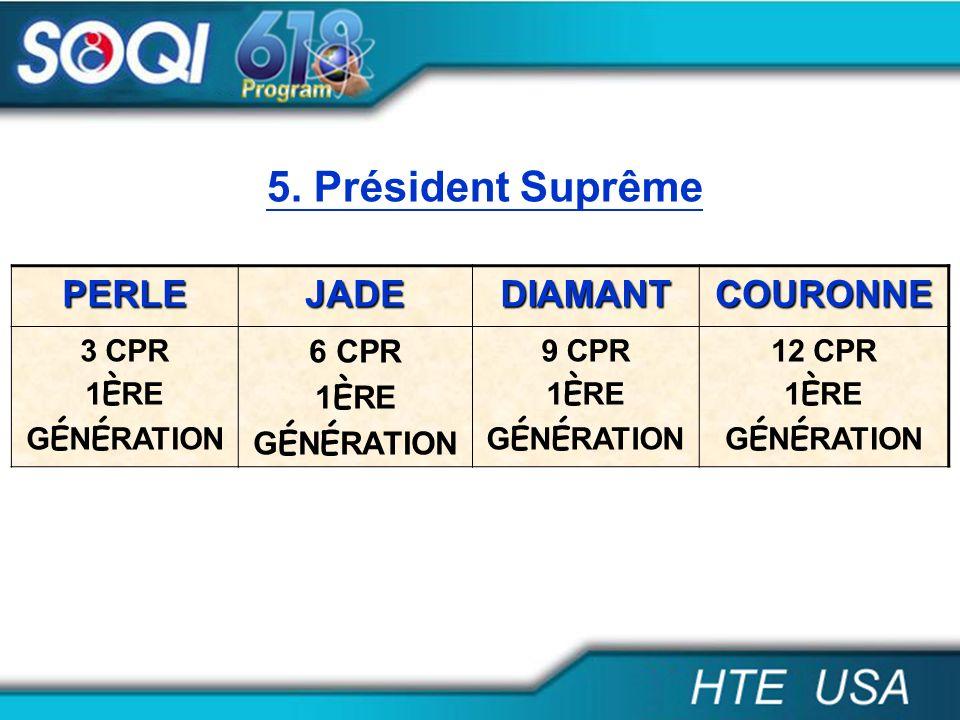 5. Président Suprême PERLE JADE DIAMANT COURONNE 6 CPR 3 CPR 1ÈRE