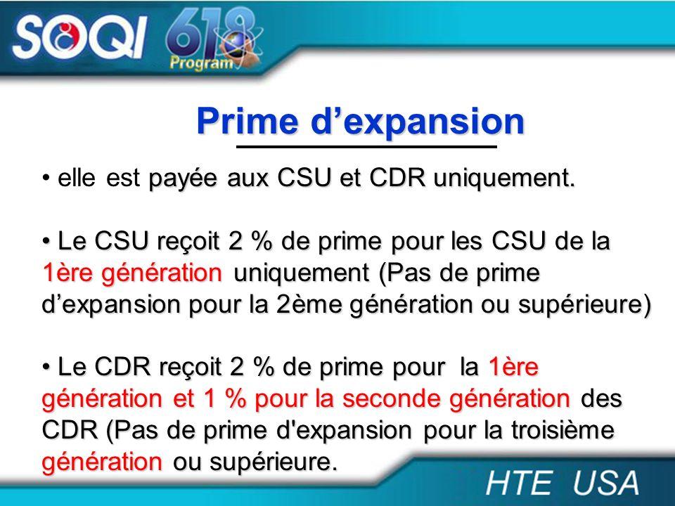 Prime d'expansion elle est payée aux CSU et CDR uniquement.