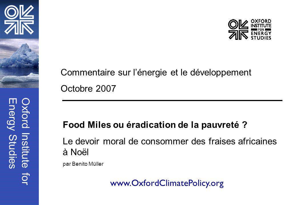 Commentaire sur l'énergie et le développement Octobre 2007