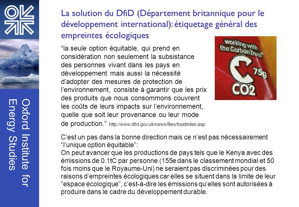 La solution du DfiD (Département britannique pour le