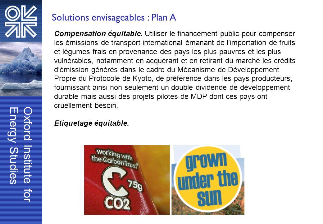 Solutions envisageables : Plan A