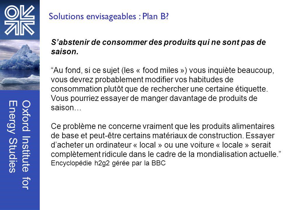 Solutions envisageables : Plan B