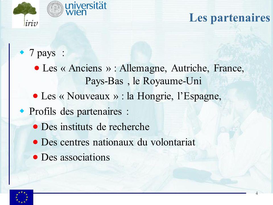 Les partenaires 7 pays : Les « Anciens » : Allemagne, Autriche, France, Pays-Bas , le Royaume-Uni.