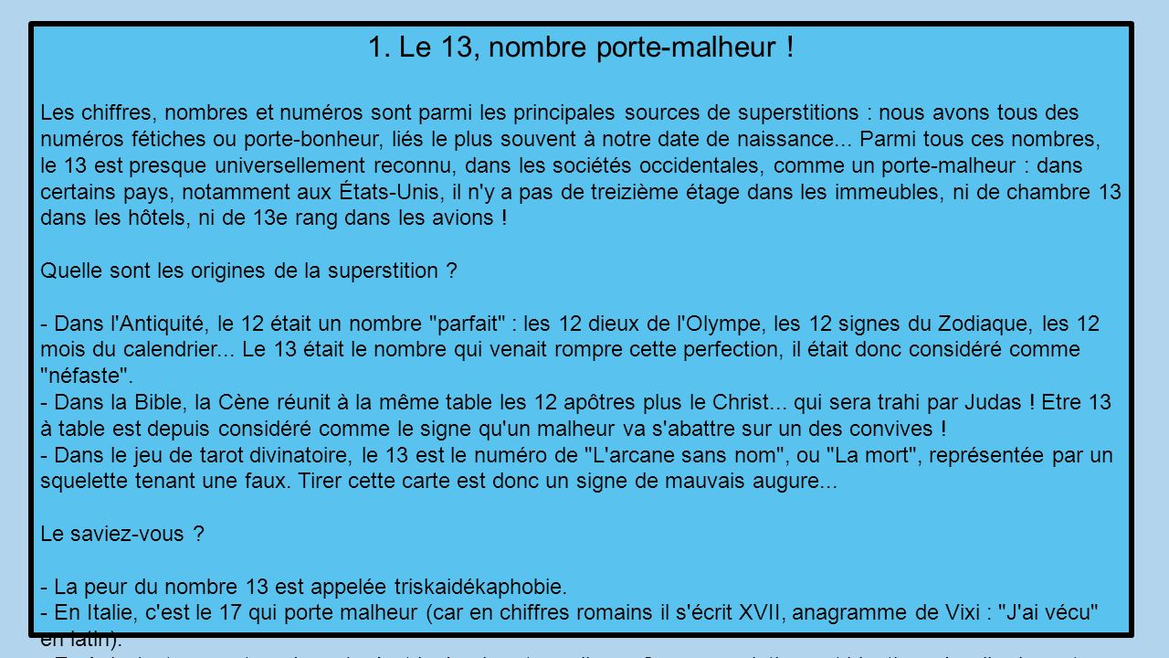 D o viennent les superstitions ppt t l charger for Superstition chiffre 13