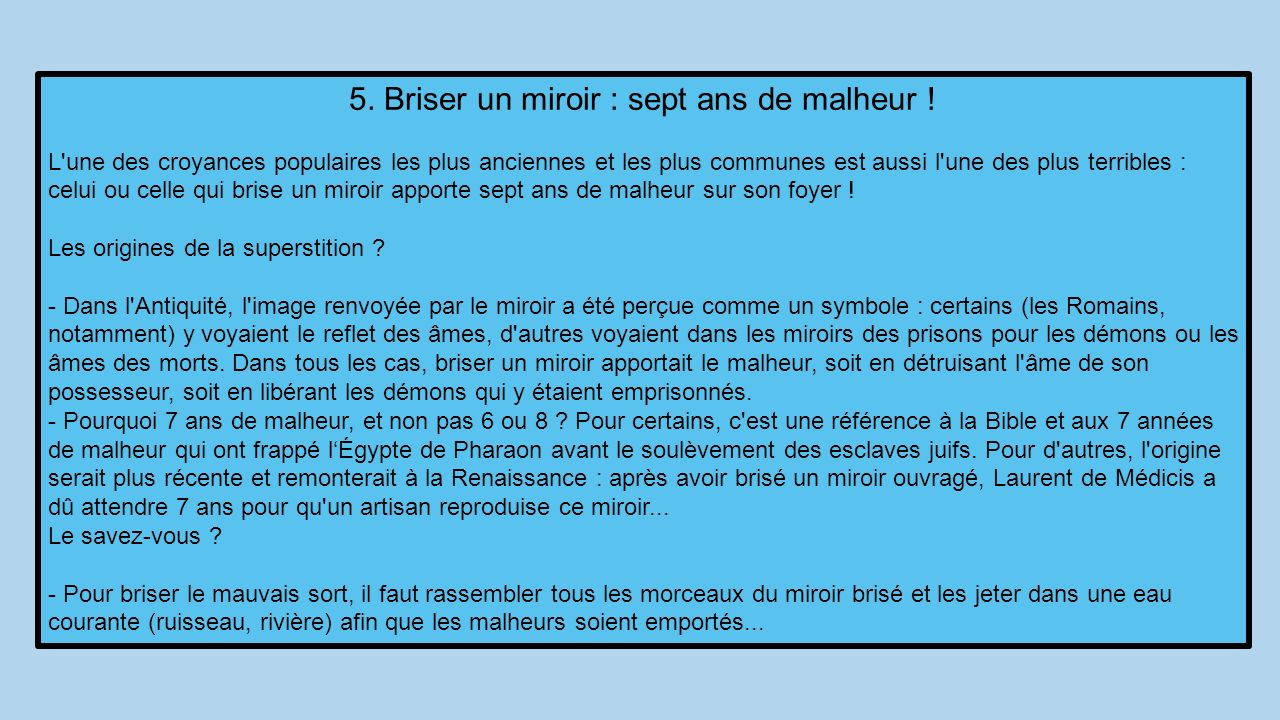 D o viennent les superstitions ppt t l charger for Briser un miroir conjurer le sort