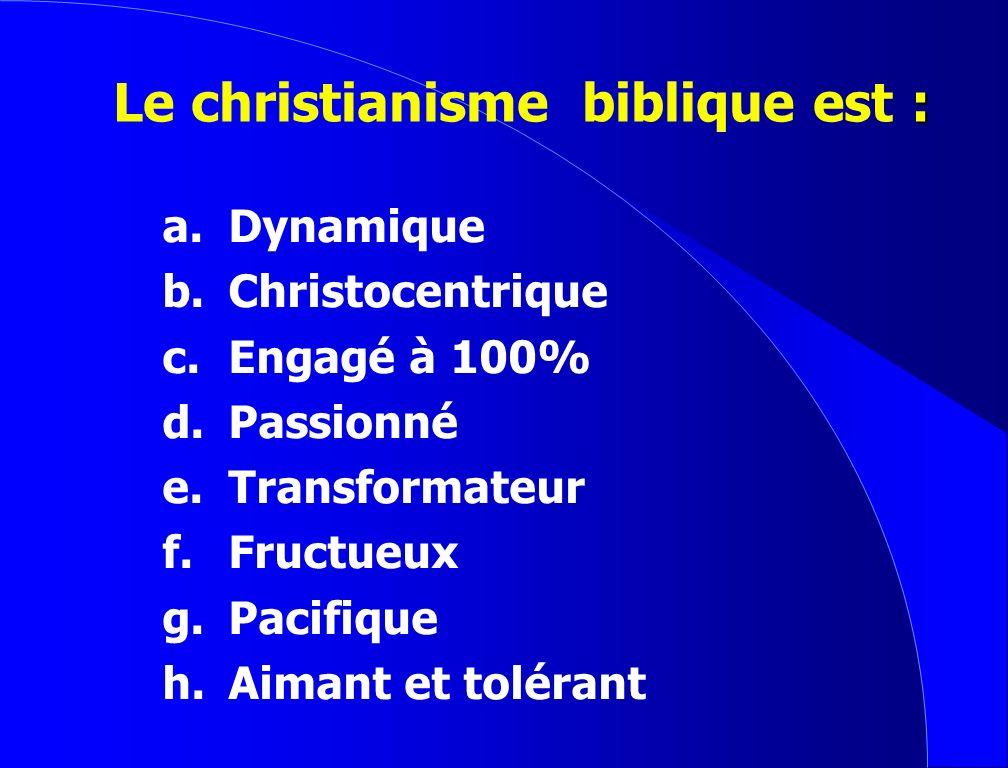 Le christianisme biblique est :