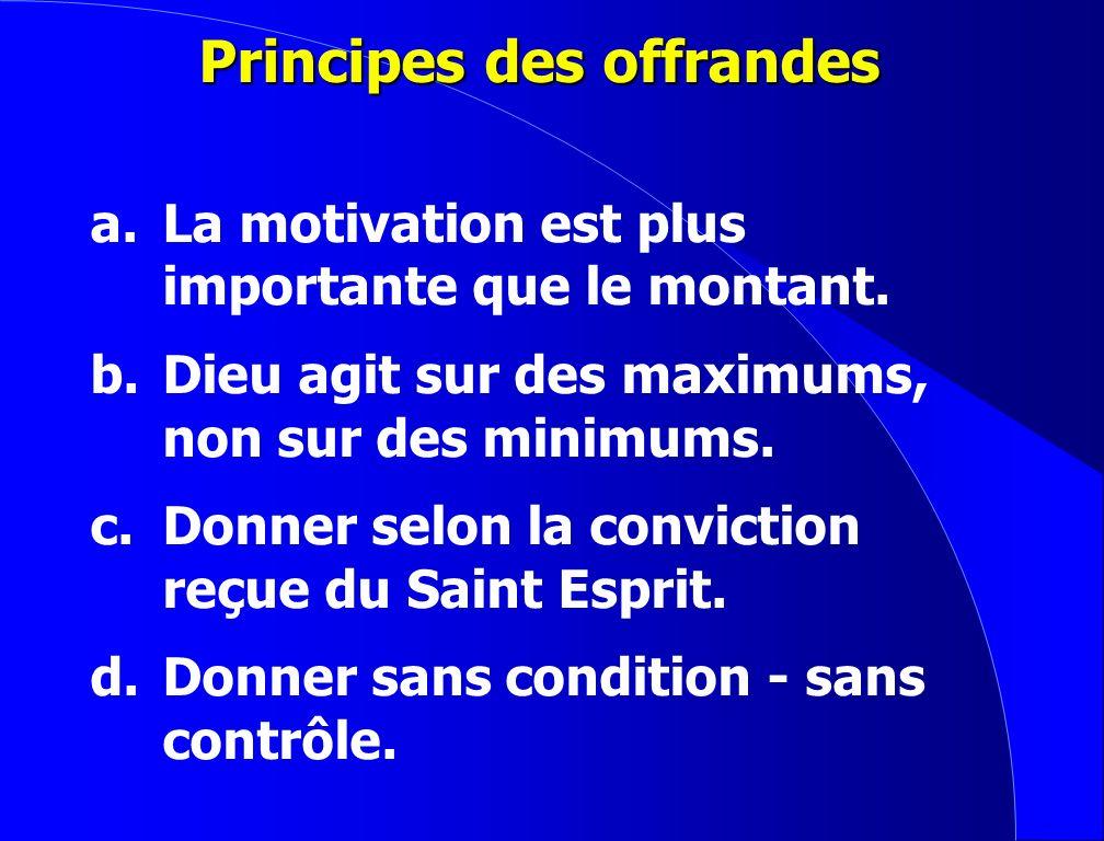 Principes des offrandes