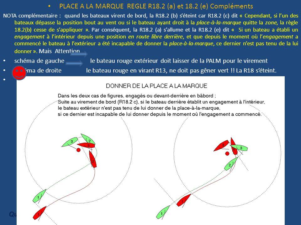 PLACE A LA MARQUE REGLE R18.2 (a) et 18.2 (e) Compléments