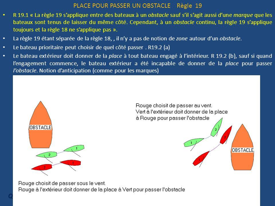 PLACE POUR PASSER UN OBSTACLE Règle 19