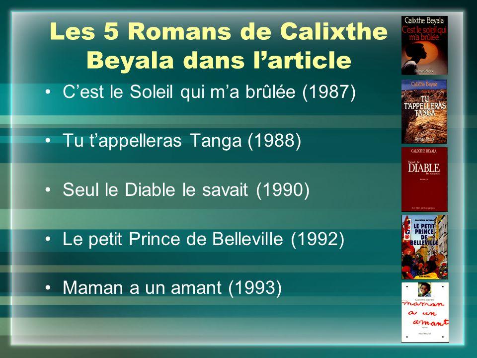 Les 5 Romans de Calixthe Beyala dans l'article