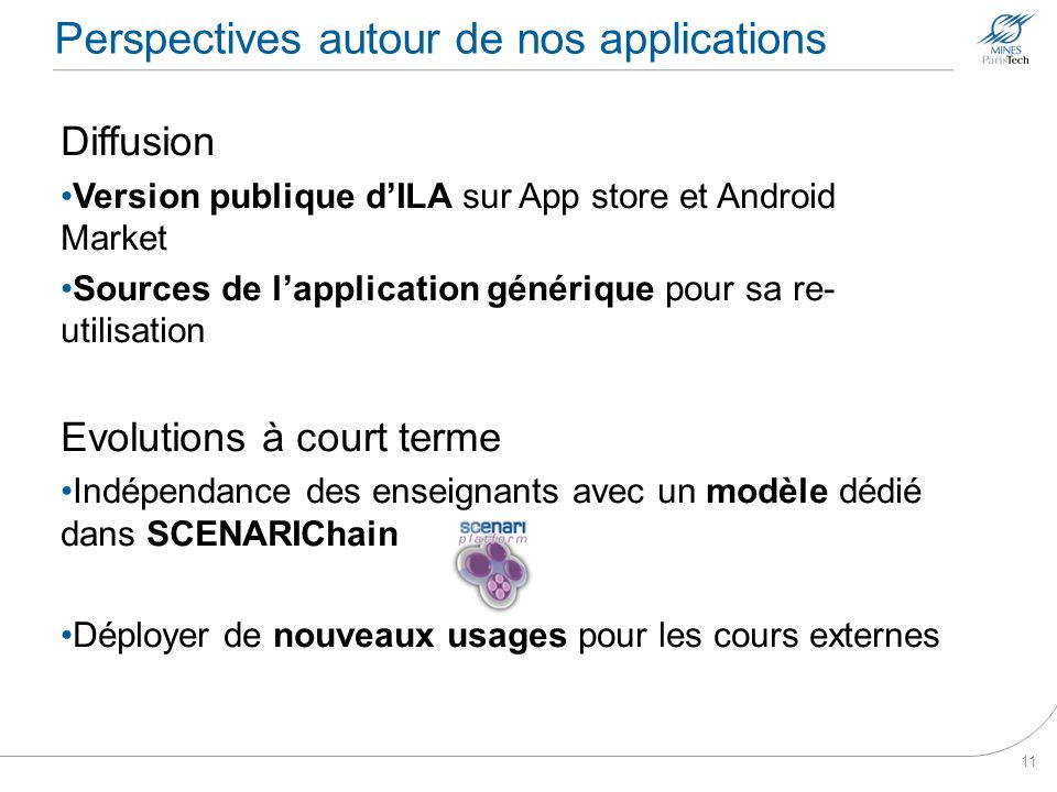 Perspectives autour de nos applications