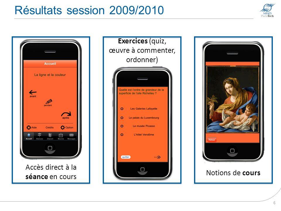 Résultats session 2009/2010 Exercices (quiz, œuvre à commenter, ordonner) Accès direct à la séance en cours.