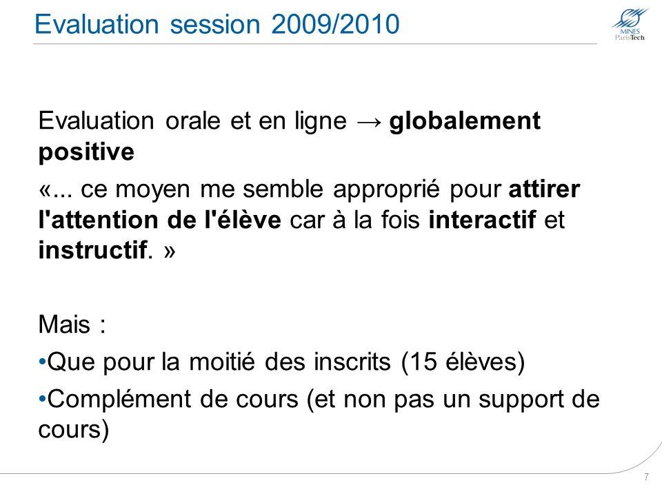 Evaluation session 2009/2010Evaluation orale et en ligne → globalement positive.