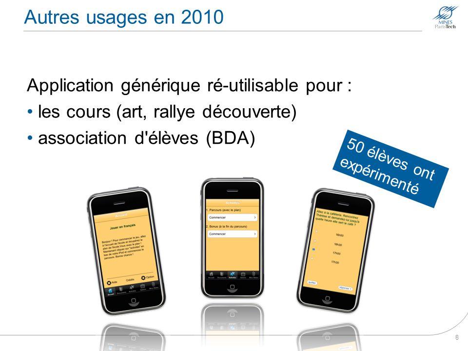 Autres usages en 2010 Application générique ré-utilisable pour :