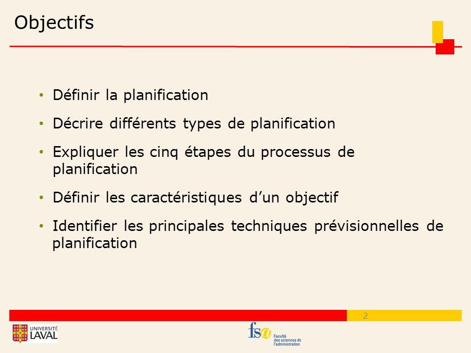 Objectifs Définir la planification
