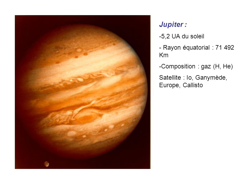 Jupiter : 5,2 UA du soleil Rayon équatorial : 71 492 Km