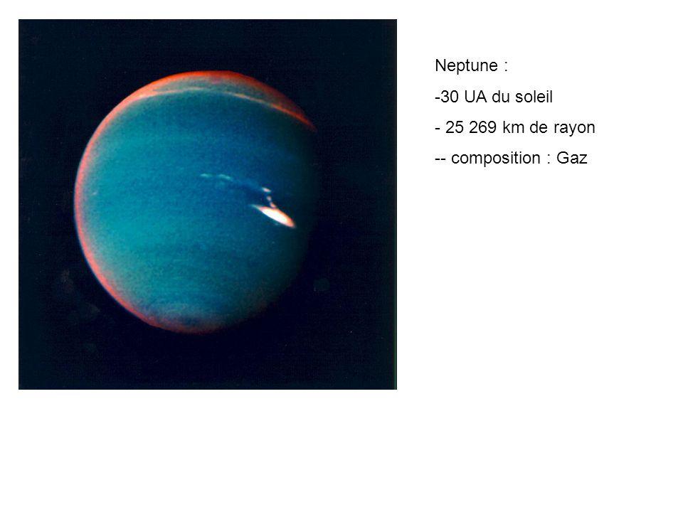 Neptune : 30 UA du soleil 25 269 km de rayon - composition : Gaz