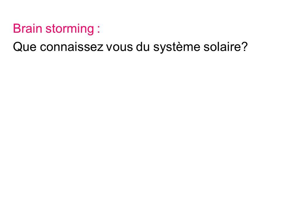 Brain storming : Que connaissez vous du système solaire